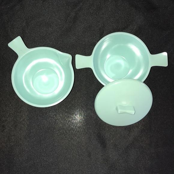 Vintage MCM Aqua MELMAC Cream/Sugar Set~Made USA